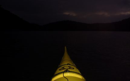 Paddling into the murky darkness of pre-dawn Berowra Waters