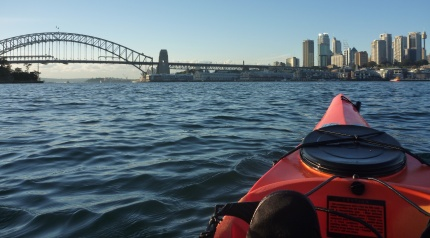 "Paddling down the shipping lane to ""The Coathanger"", aka Sydney Harbour Bridge"