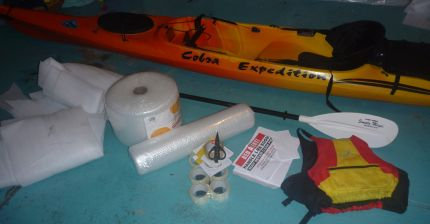 Hundreds of metres of bubble wrap and tape required for kayak gift-wrapping!