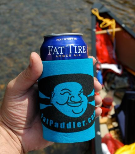 Fat Paddler with a Fat Tire beer! Southern Missouri, USA - @AdventureCanoe