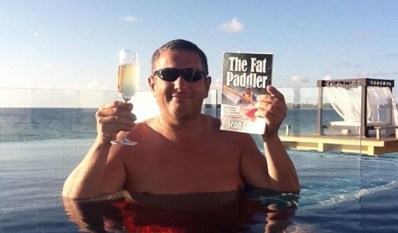 The High Life! Bubbly and The Fat Paddler in the Maldives (thanks Marty!)