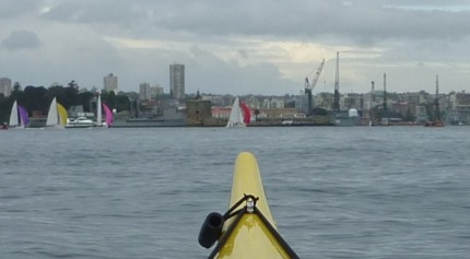 Sailboats on the Harbour, with Garden Island Navy Base in background