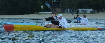 My mate Olli on his banana, oops I mean ocean ski, at the start of the Balmoral Blast