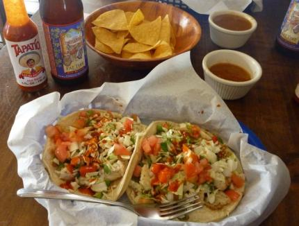 Awesome Mexican food - fish tacos from the taqueria (Davenport)