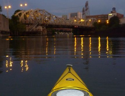 "Paddling down the Chicago River towards ""The Loop"""