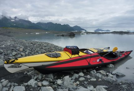 Kayaks tied up at the base of Bear Glacier