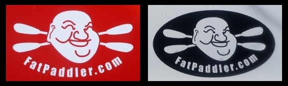 FatPaddler.com laser cut vinyl stickers - perfect for kayaks, surfskis, canoes & cars