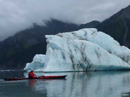 Fat Paddler checking out the 'bergs