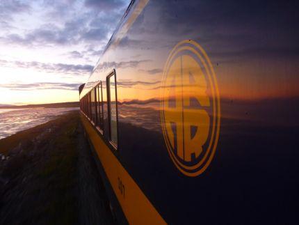 Sunset on the Alaska Railroad