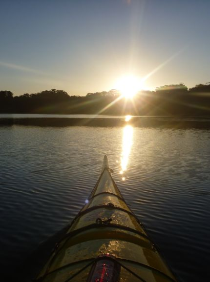 Sunset on Avoca Lake from the kayak