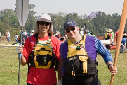 Colourful paddlers! Ned and FP