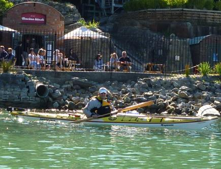 "Fat Paddler in ""Cayenne"" with Elver Greenland paddle, Sydney Harbour"