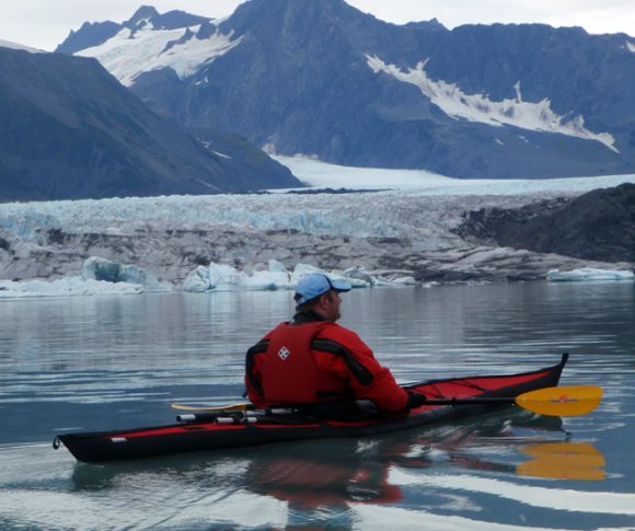 Looking at Bear Glacier, the Harding Icefield's biggest chunk of moving ice.