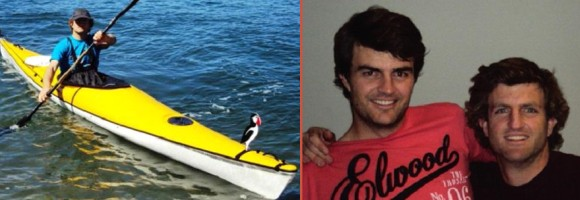 Martin Girbble in his kayak, and with brother James