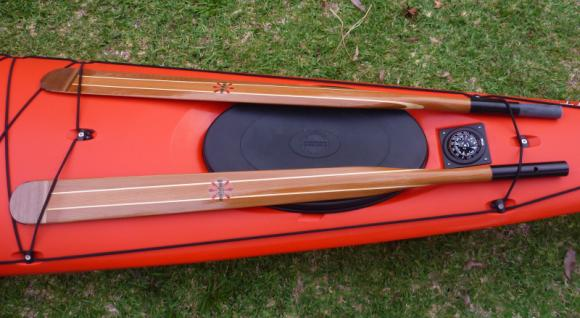 Split Mitchell Greenland Paddle & Silva compass on the front deck