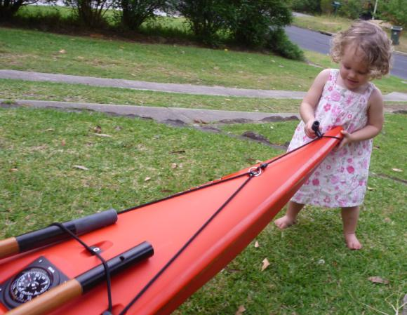 Daughter Ella (20mths) studying daddy's new kayak