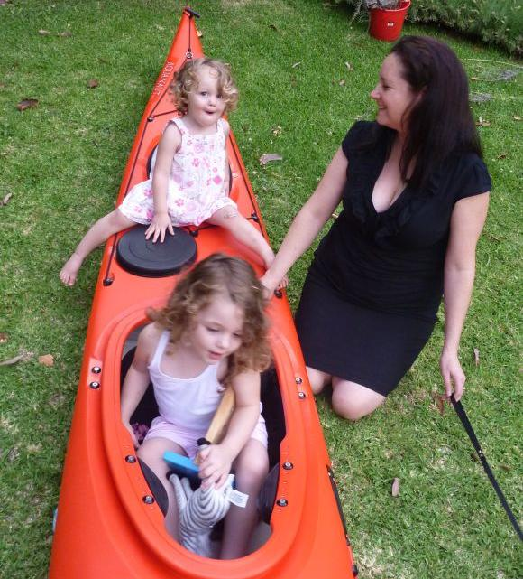 Fat Paddlers three girls - Ella, Bec & Grace.  My turn to play in the kayak please!
