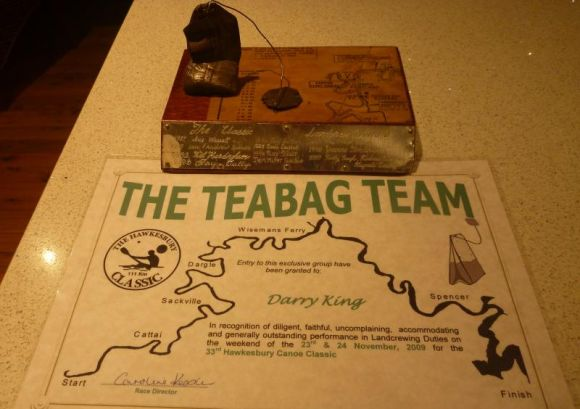 Teabag Trophy and Certificate for Darry (sic), in absentia for the ceremony