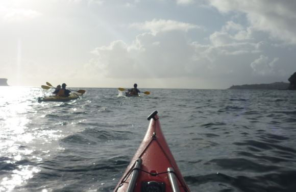 Team Fat Paddler passing Grotto Point and heading for Middle Head