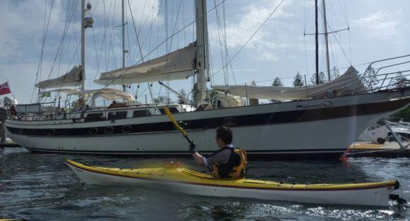 Sacha passing some slightly bigger boats