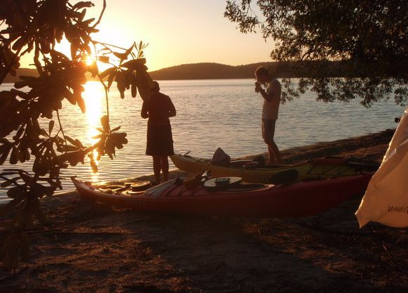 Sunset over lakeside camp spot, Myall Lakes (Img credit: Owen Walton)