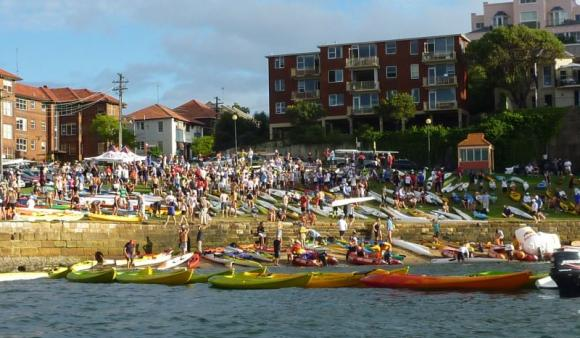 Boat launch zone PACKED with hundreds of paddlers