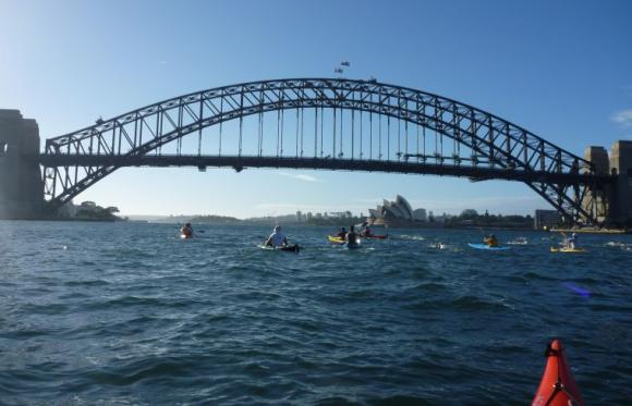 Swimmers and paddler-escorts start the Bridge to Beach