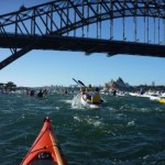 And we're off! Hundreds or paddles churn up the Harbour.