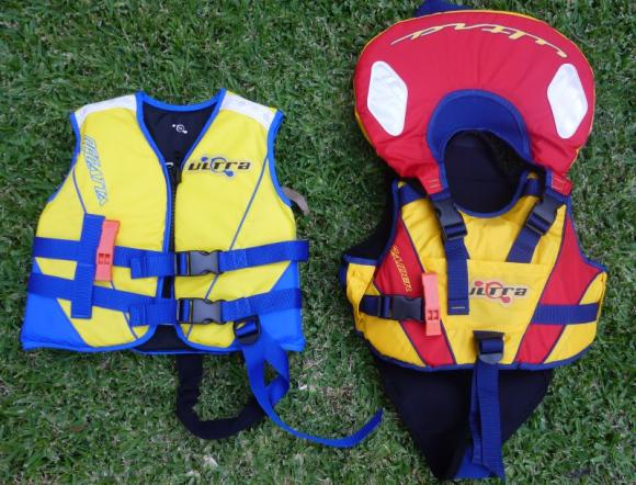 PFDs for kids (from left): For a 4 year old, and for a 2 year old