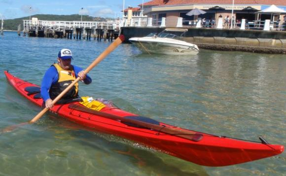 Final strokes into the protected beach at Manly Wharf