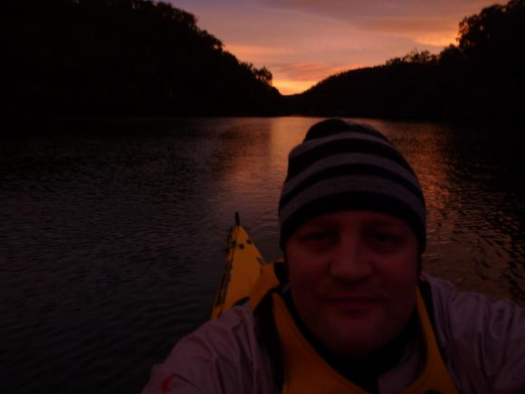 Extending the paddles away from the Harbour. Berowra Waters dawn.Extending the paddles away from the Harbour. Berowra Waters dawn.