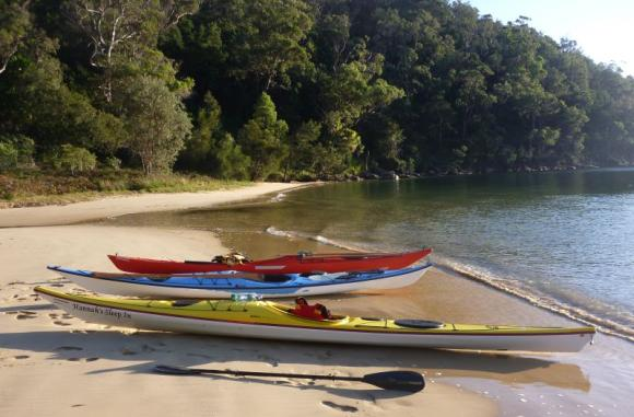 Kayaks at rest, Portugese Beach, Pittwater