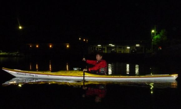 Grumm sets off from the marina in darkness
