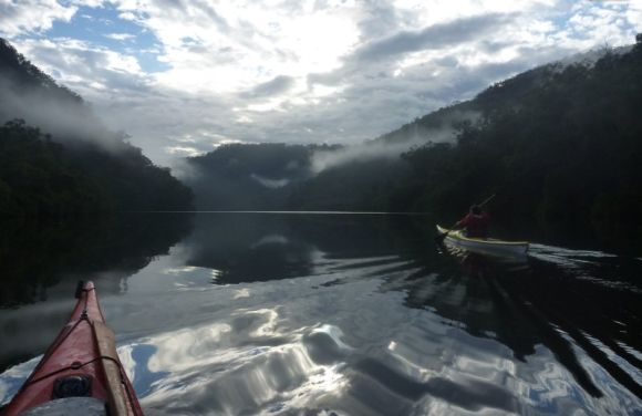 Continuing down the glassy waters of Berowra Gorge.