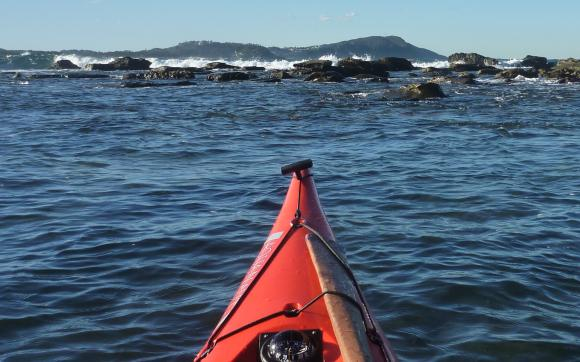 Paddling out to the breakwater at Terrigal's southern headland