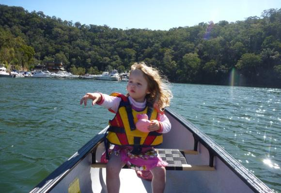 Ella pointing out the Berowra Ferry on the water