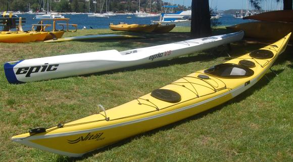 Epic V8 Ocean Ski (background) next to a Maelstrom Vital Sea Kayak (foreground)