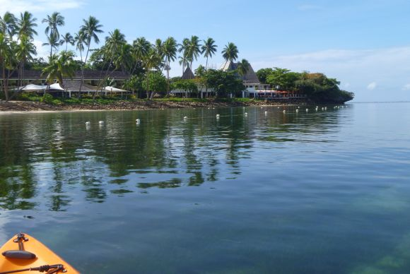 The Shangri-La Fijian Resort from the water