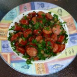 Sliced chorizo sauteed in olive oil with onion and garlic, then tossed with fresh continental parsley