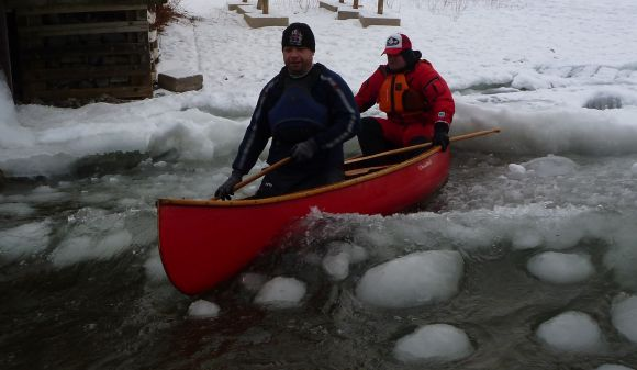 It seemed like such a good idea at the time. Ice, water, and two fat paddlers in a little boat!