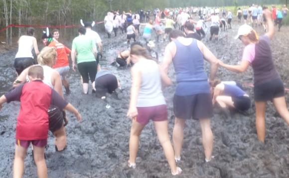 The start of the first mud-obstacle. It seemed to go for 100s of metres.