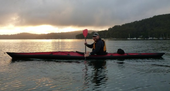 The Global Paddler enjoying the early morning from my Folbot Cooper