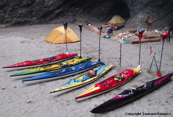 A Tsunami Ranger secret camp at Trilogy Cove (photo by Jim Kakuk)