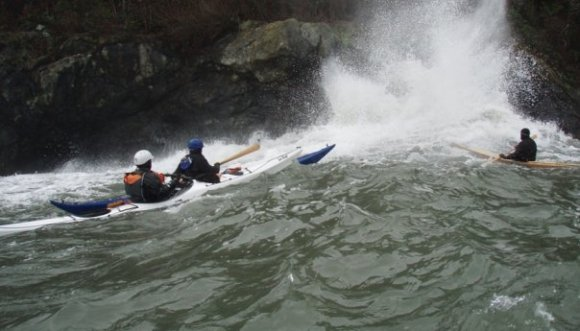 "The cliffs of Trinidad, including the famed ""Smack Wall"", make a fun playground for paddlers"