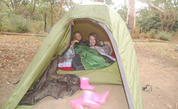 A first.. sleeping outdoors in a tent. So much fun!!
