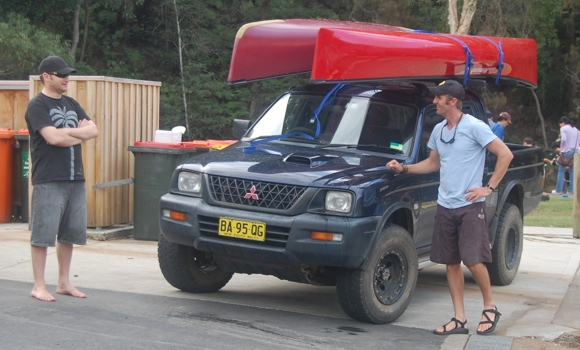 Travis with his canoe transporter - cheers Trav!