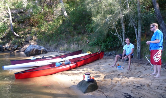 Break time on a little hidden beach in the bush.