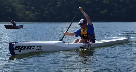 Even Nat on his ski gave the canoe paddles a trial, with amazing success!