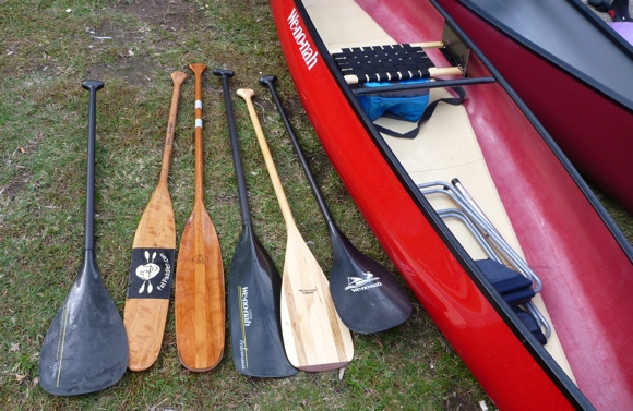The range of different paddles on show - traditional, bent and white-water