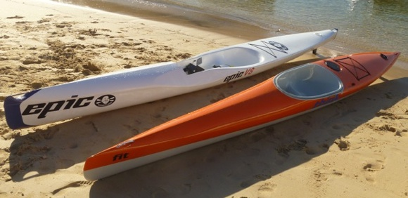 Two beautiful boats catering to new paddlers to the ocean ski genre
